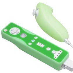 2 Tone Silicone Skin Case for Nintendo Wii Remote Control & Nunchuk - Green and Solid Green