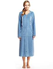 Per Una Hooded Zip Through Velour Dressing Gown