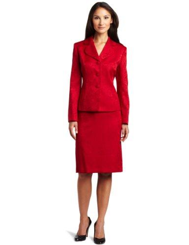 Lesuit Women's Paisley Jacquard Skirt Suit