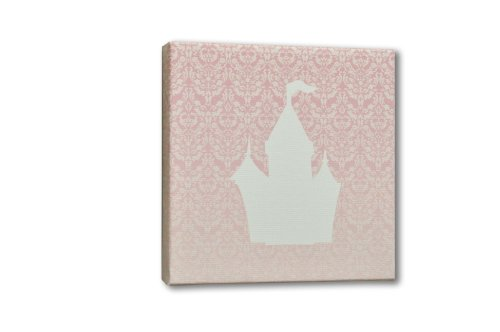 Homeworks Etc Castle Canvas Wall Art, Pink/White