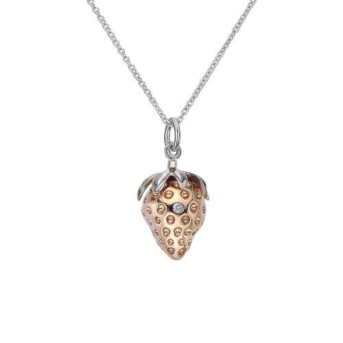 Hot Diamonds 18ct Rose Gold Vermeil Strawberry Pendant 40cm +5cm extender