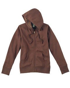 Econscious Ladies 9 Oz. Organic/Recycled Full-Zip Hood - Small - Earth front-1020546