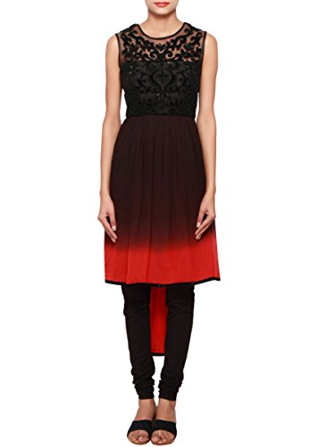 Kalki Fashion Black And Red High-low Georgette And Net Kurti Embellished In Embroidery Only On Kalki Size- Large