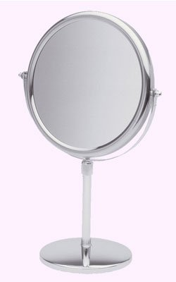 "Seeall 9"" Polished Chrome Adjustable Stand Pedestal Vanity Makeup Mirror"