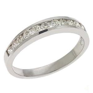 14k White Channel-Set Round 0.47 Ct Diamond Band Ring - Size 7.0 - JewelryWeb