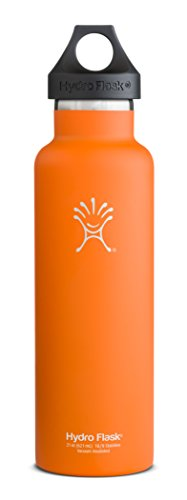 Hydro Flask Insulated Stainless Steel Water Bottle, Standard Mouth, Orange Zest, 21-Ounce