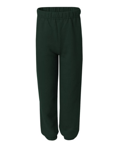 Jerzees 973B Youth 8 Oz. 50/50 Sweatpants-Small-Forest Green front-142055