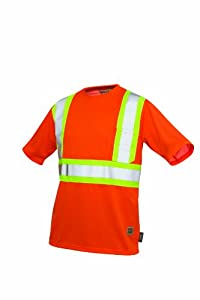 Work King Men's Hi-Vis T-Shirt with Pocket, Safety Orange, 3X-Large