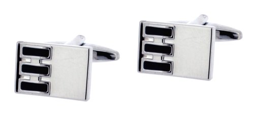 Code Red Base Metal Rhodium Plated Rectangular Shaape Cufflinks with Black Enamel