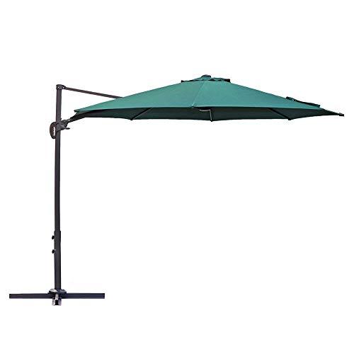 Le Papillon 10 ft Cantilever Umbrella Outdoor Offset Patio Umbrella Easy Open Lift 360 Degree Rotation, Green