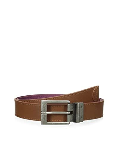 Original Penguin Men's Reversible Striped Web/Leather Belt