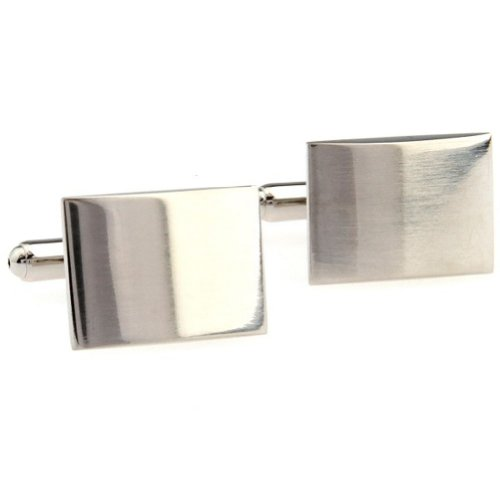 Beour White-Gold-Plated-Silver Classic Copper Alloy Mens Cufflinks