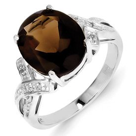 Genuine IceCarats Designer Jewelry Gift Sterling Silver Rhodium Smokey Quartz & Diamond Ring Size 6.00