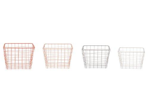 Present Time Linea Körbe-Set, quadratisch, Metalldraht, weiche Farbtöne