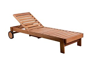 wooden reclining sun lounger sunbed garden furniture deck chair patio ...