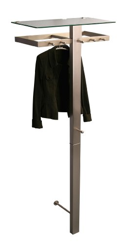 HomeTrends4You 829288 Garderobe, 70 x 190 x 34 cm, Metall Edelstahloptik