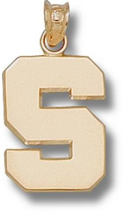 Michigan State Spartans Polished S 5 8 Pendant - 14KT Gold Jewelry by Logo Art