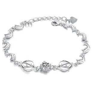 OPK Double Dolphin W/Three-color Diamond(CZ) Platinum Plated Women's Bracelet Best Gift!