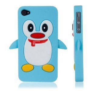 Fosmon Penguin Design Soft Silicone Case For Apple Iphone 4 / 4S - Blue