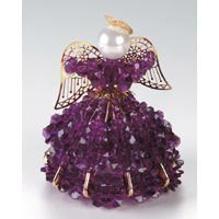Birthstone Angel Ornament Bead Kit - February Amethyst