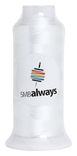 White Embroidery Machine Bobbin Thread, 5,000 Meter Cone by SMB Always