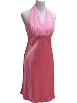 Halter-Style Knee Length Satin Chiffon Prom Dress - Holiday Formal Gown - or Bridesmaid, Crystal Bustline, Pink