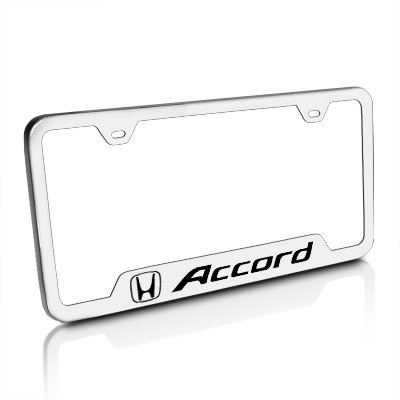 Fit HondaAccord Polished Stainless Steel License Plate Frame with Caps