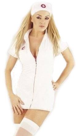 DAMEN NEU SEXY Krankenschwester Kostüm Outfit MIT HUT FRAUEN-Kostüm SLIM FIT ZIP FRONT SIZE 36-44 (M, weiß)