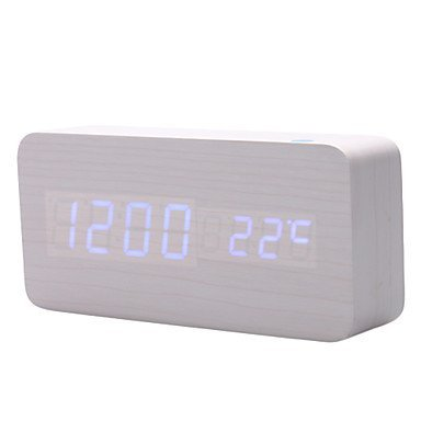 KABB White LED White Wood grain Cuboid Digital Clock Alarm Thermometer Temperature Function Clap On Sound Control Clock