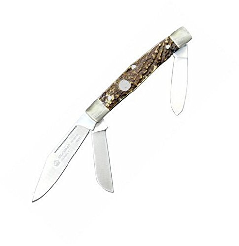 Puma Stockman Folding Knife,3.875in closed,Clip,Sheepsfoot and Spey Blade,Genuine Stag 410675