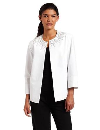 Alfred Dunner Women's Crystal Embellished Jacket, Lilac, 8