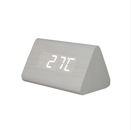 Fashion White Wooden Triangle White Led Wooden Imitation Alarm Clock Digital Wood Alarm Clock Desktop- Time Temperature - Sound Control - Latest Generation