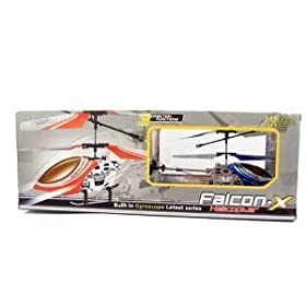 3 Channel FALCON X Electric Mini Indoor Co-Axial Full Metal Body Frame w/Led Lights & Built in Gyroscope R/C Remote Controlled Helicopter (colors may vary)