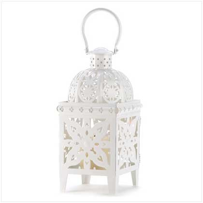 White Medallion Hanging Lantern Candle Holder Decor