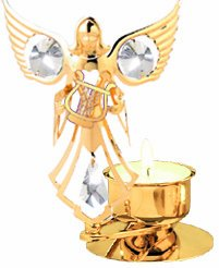 Angel Holding a Lyre (small harp) Tea-Light..... With Clear Swarovski Austrian Crystal