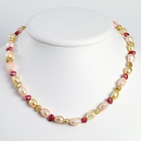 Sterling Silver Multicolor Freshwater Cultured Pearl Necklace
