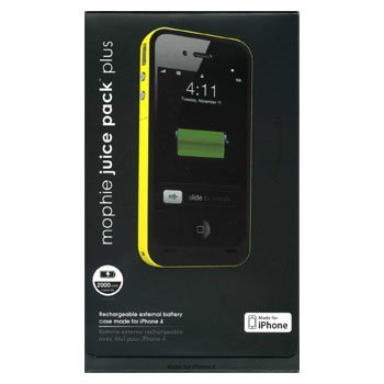 iPhone4 バッテリー内蔵ケース充電器 mophie juice pack plus イエロー 容量2000mAh Made for iPhone