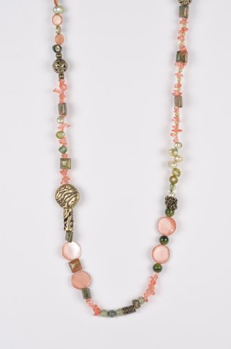 Long Beaded Necklace in Rose, Old Gold and Green