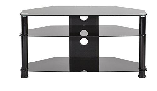 Buying Guide of  MMT tv stand black glass for up to 46″ LCD/LED/3D Plasma screens up to 80kg 3 shelves & cable management