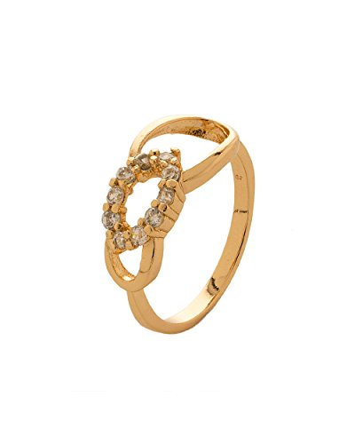 Voylla Gold Plated Pretty Ring Studded With Cz Stones, Modern Look (multicolor)