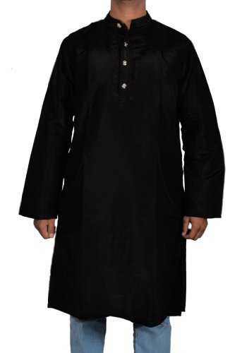 Casual Wear Indian Semi Silk Mens Long Kurta with Standing Collar Neckline Size XS