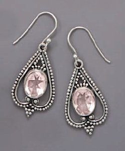10.5x8.5mm Faceted Rose Quartz Sterling Silver French Wire Earrings, Bead Edge Design, 1 inch long