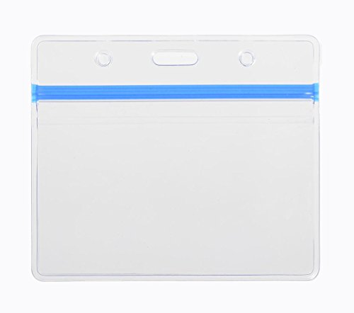 10 Pack Heavy Duty Horizontal Name Tag Badge ID Card Holder with Blue Zipper, More Thicker than Standard PVC, by KEYLION (Plastic Id Badge Maker compare prices)