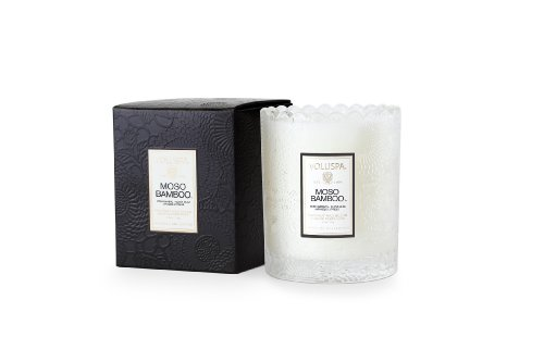 Voluspa Moso Bamboo - Scalloped Edge Glass Candle
