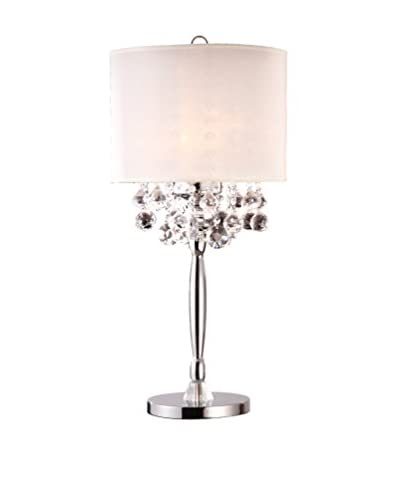 ORE International Crystal Silver 3-Light 30″ Table Lamp, Silver