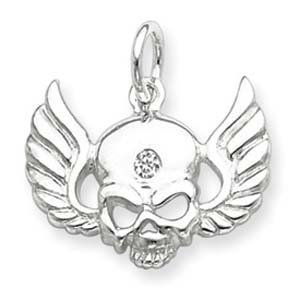 PriceRock Sterling Silver CZ Skull with Wings Charm