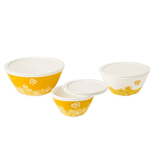 Vintage Charm Golden Days 6 Piece Mixing Bowl Set, Yellow (Vintage Pyrex Butterfly Gold compare prices)