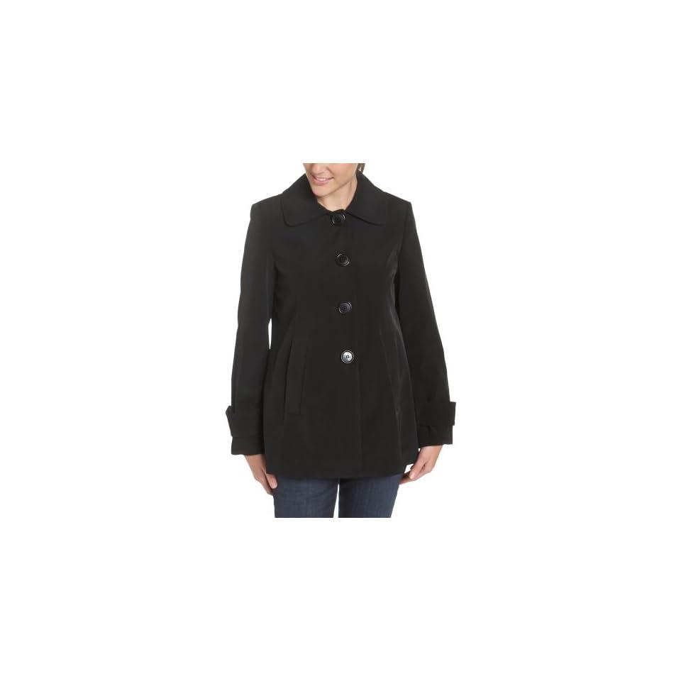 AK Anne Klein Womens Single Breasted Swing Coat, Black, Medium