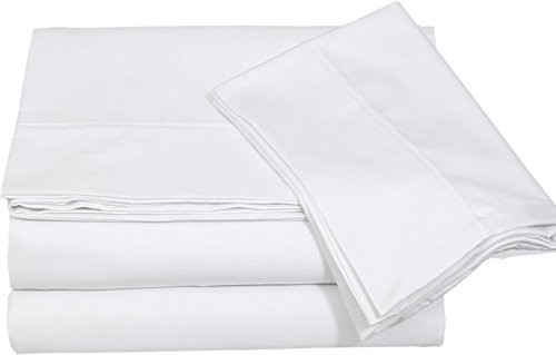 Cotton Sateen Full Bed-Sheet-Set White - 4 Piece Bedding Set, Flat Sheet, Fitted Sheet and 2 Pillow Cases - by Utopia Bedding (Full, White) (Full Bedding Set White compare prices)