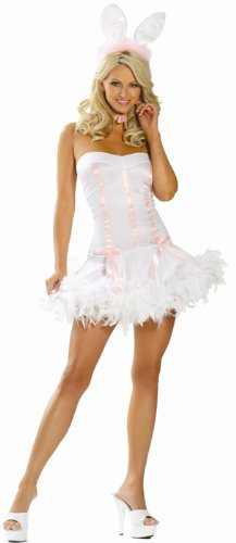 Sexy Adult Halloween Costume Skimpy Mini Dress Naughty Pretty White Bunny Outfit